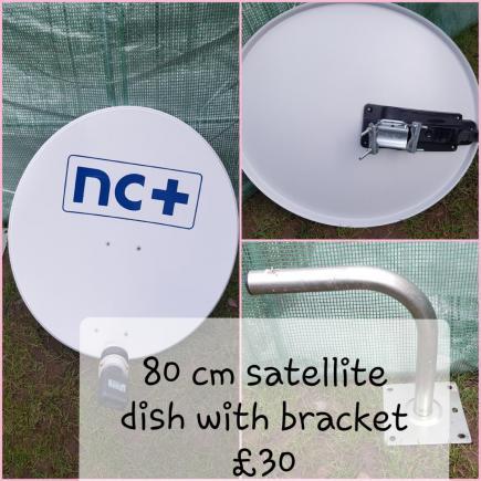 Kosiarka Bosh i talerz satelitarny