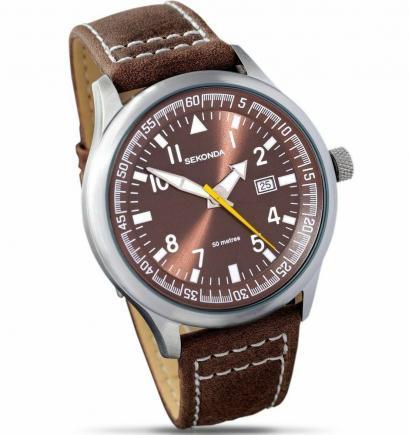 Gent Mens Stylish Brown Leather Sekonda Wa